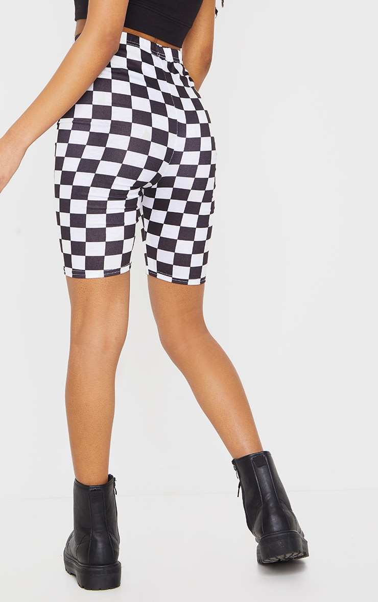 Monochrome Checkerboard Bike Shorts 3