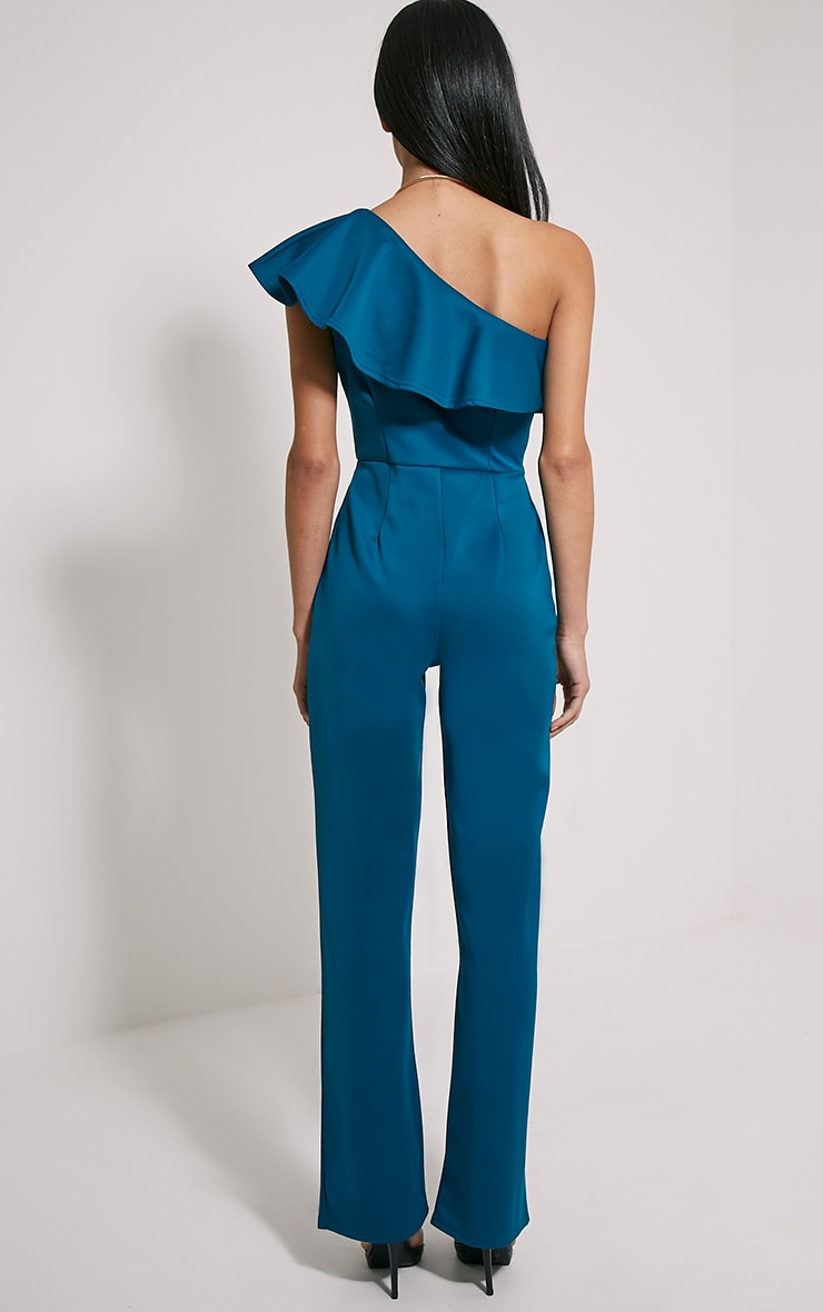 Kerry Teal One Shoulder Frill Jumpsuit 2