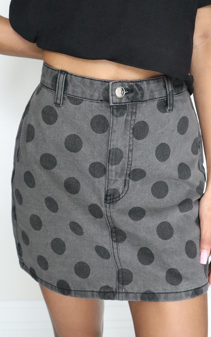 Black Polka Dot Print Skirt 5