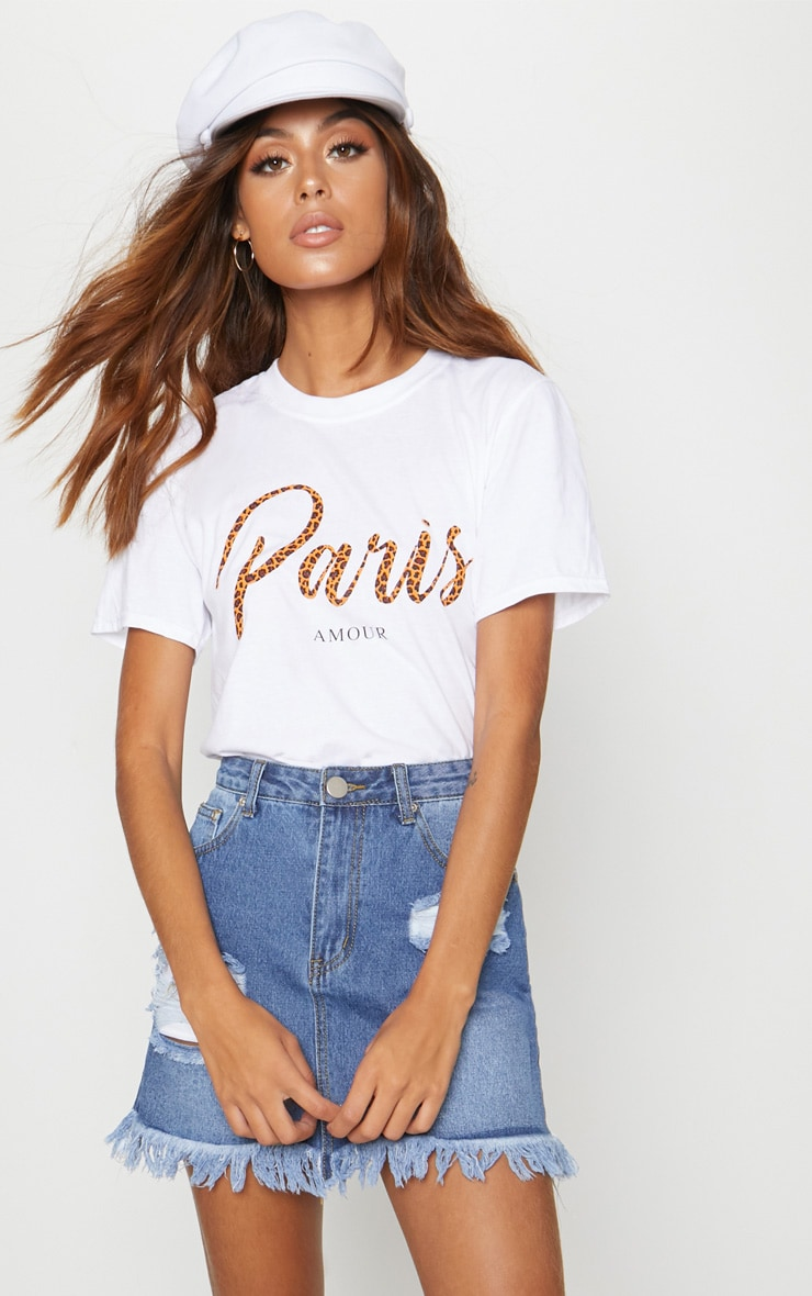 White Paris Slogan T Shirt 1