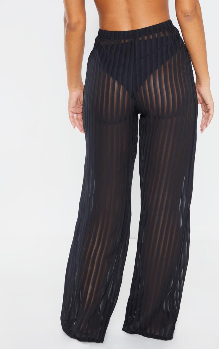Black Sheer Stripe Wide Leg Beach Pants 3