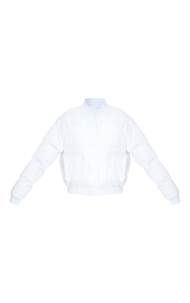 White Pocket Zip Up Bomber 3