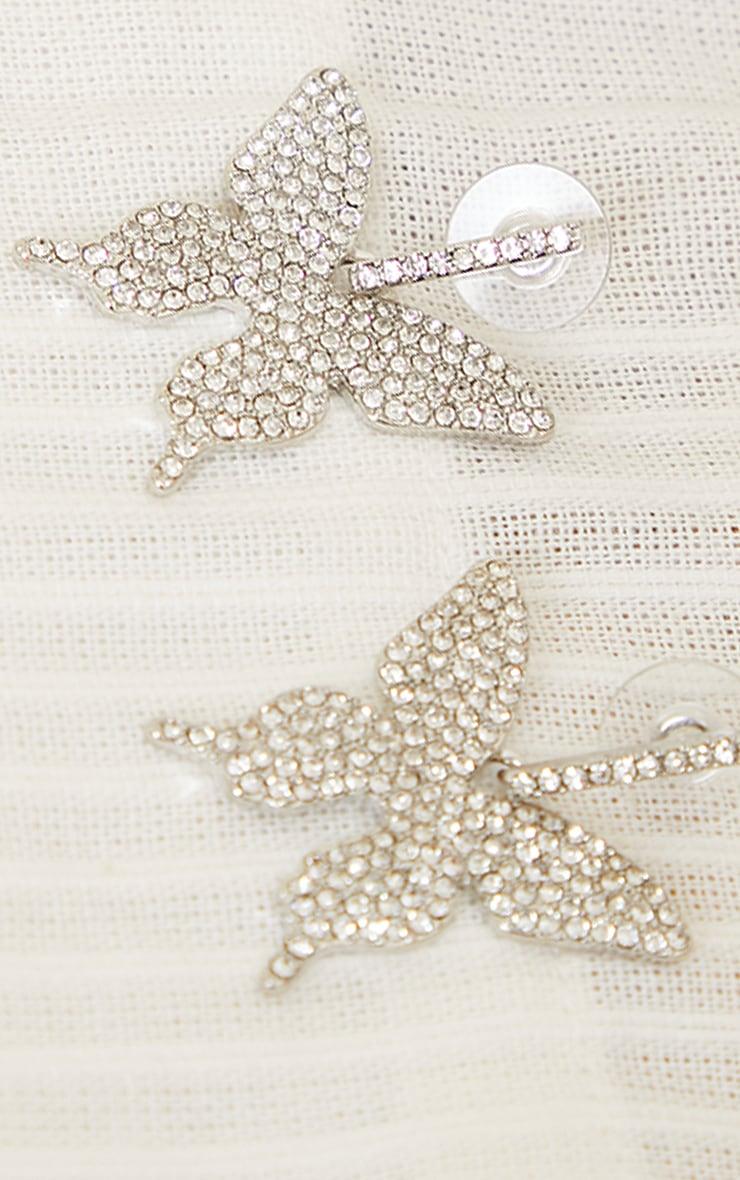 Silver Pave Butterfly Earrings 3