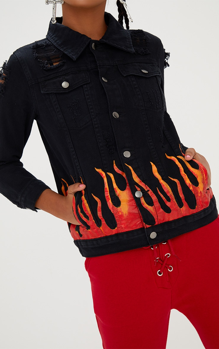 Black Flame Print Denim Jacket 4