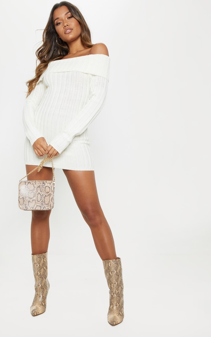 Cream Chunky Knitted Bardot Dress  4