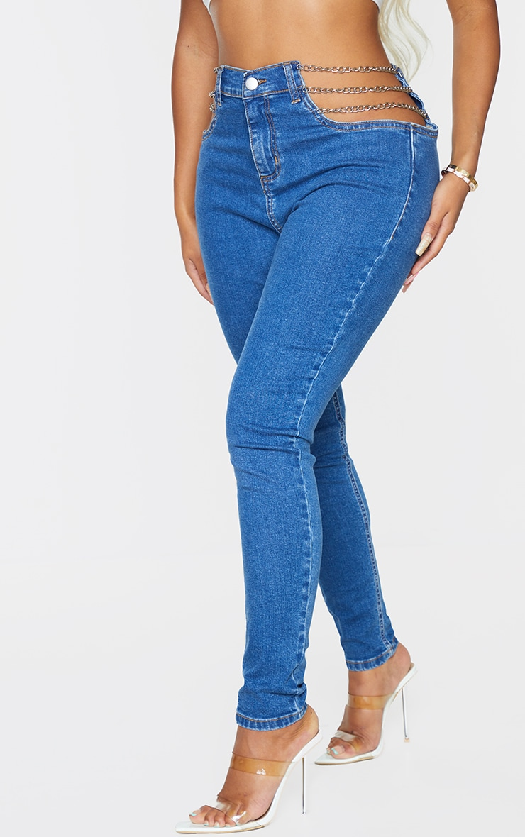 Shape - Jean skinny bleu moyennement délavé découpé détail chaîne 2