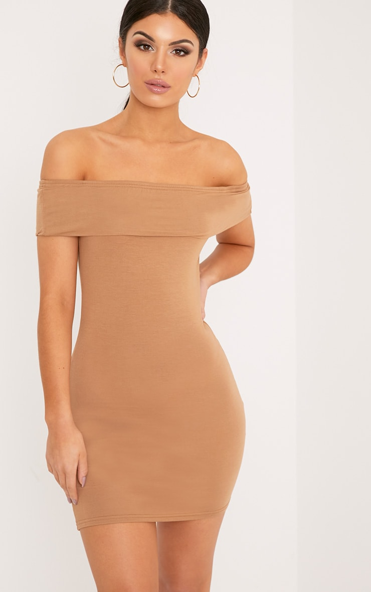 Bethany Camel Bardot Detail Bodycon Dress 1