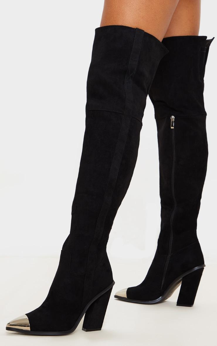 Black Metal Toe Thigh Boot 2
