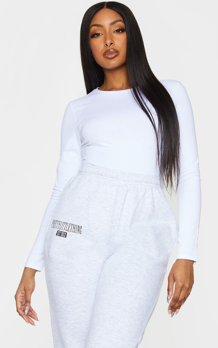 Basic White Cotton Blend Long Sleeve Fitted T Shirt 1