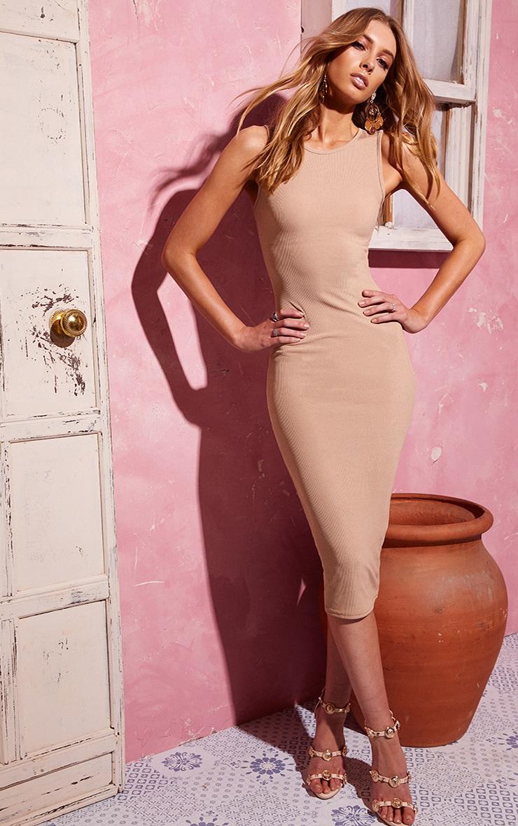 Stone Ribbed Midi Dress