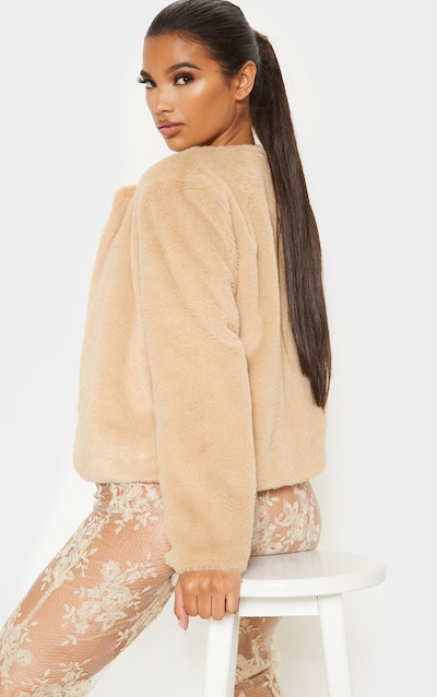 Stone Cropped Faux Fur Jacket