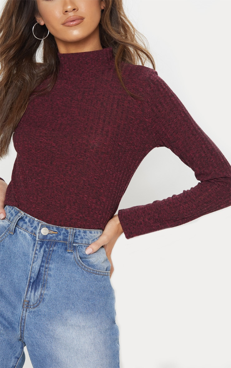 Plum High Neck Long Sleeve Top 5
