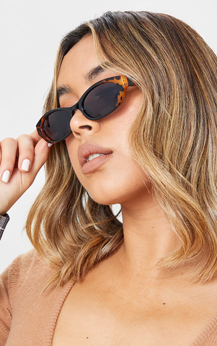 Jeepers Peepers Black With Leopard Slimline Sunglasses 1