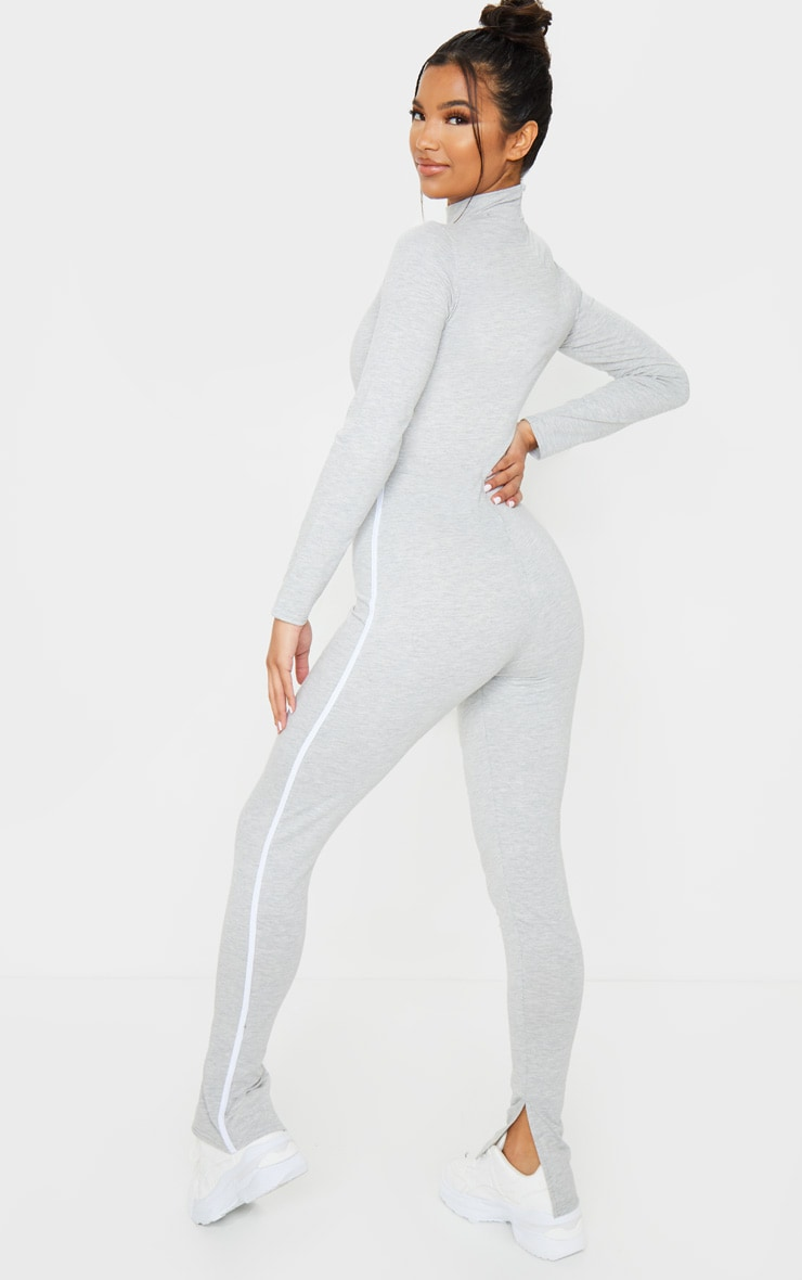 Grey Sports Stripe High Neck Jumpsuit 2
