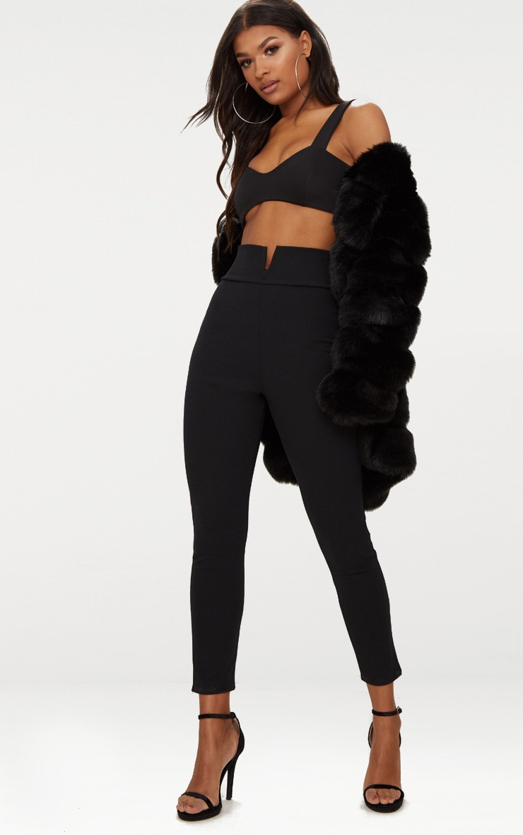 Black Cut Out Waist Skinny Trousers 1
