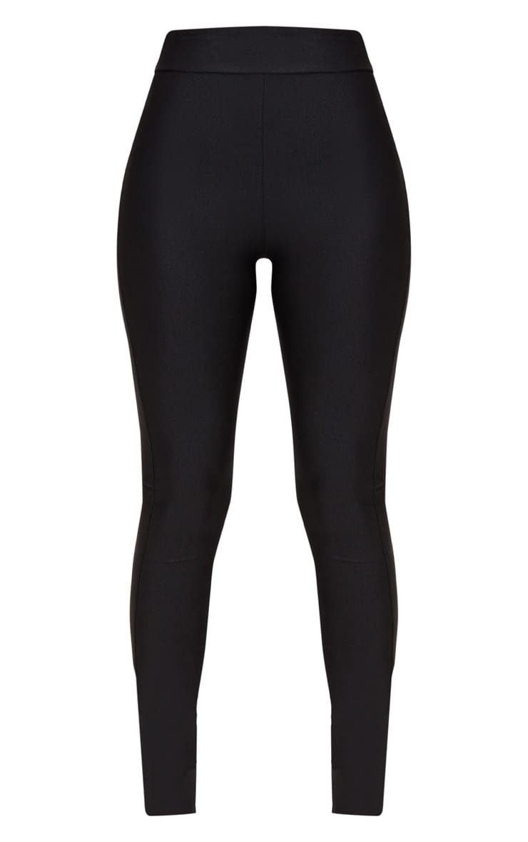 Petite Black Disco Slinky High Waisted Leggings 3