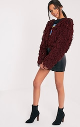 d1c050fb25ec00 Shainina Burgundy Shaggy Knit Cropped Cardigan image 5