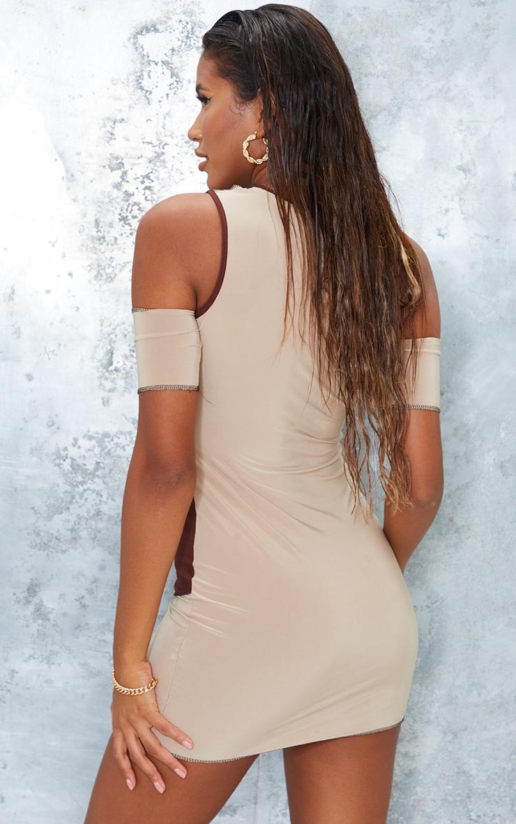 Nude Slinky Contrast Panel Overlock Stitch Cut Out Bodycon Dress 2