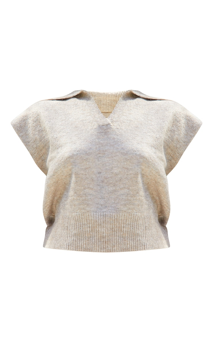 Petite Oatmeal Soft Collared Knitted V Neck Vest 5