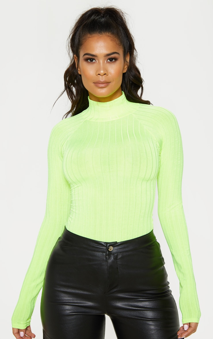 Neon Lime Slinky Rib High Neck Long Sleeve Top 1