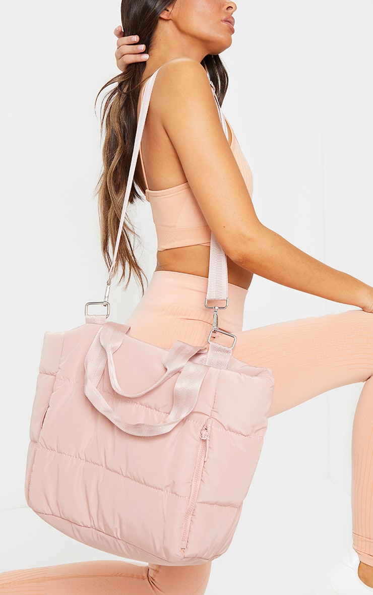 Pink Oversized Quilted Tote Bag 1