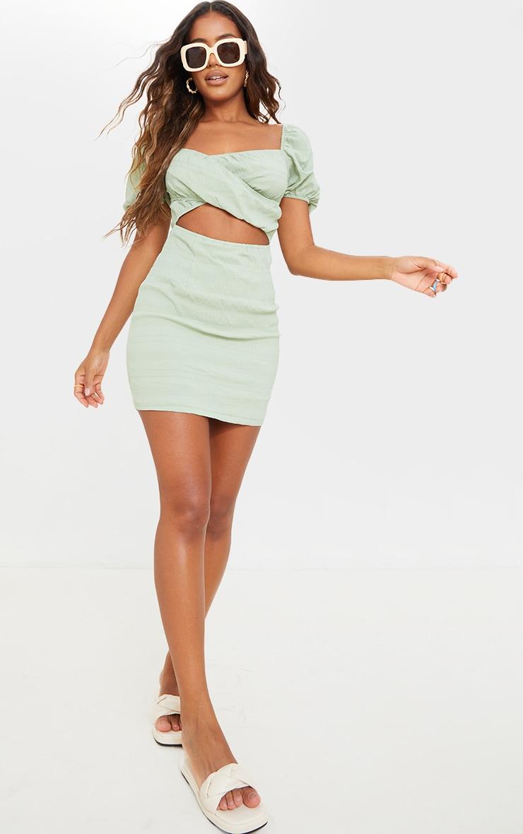 Sage Green Textured Linen Cut Out Puff Sleeve Shift Dress 3