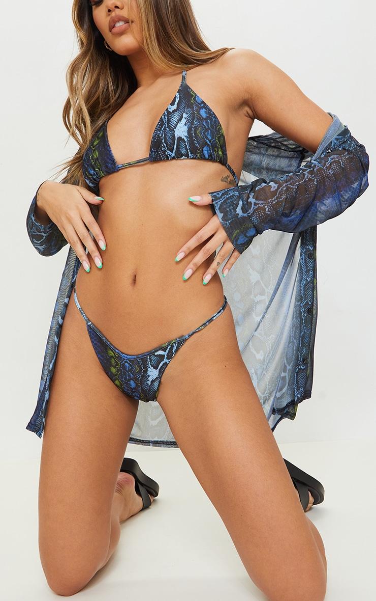 Blue Print Tanga Bikini Bottoms 1