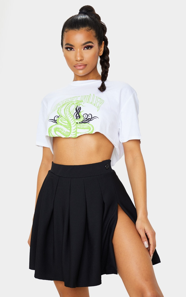 Black Pleated Side Split Tennis Skirt 5