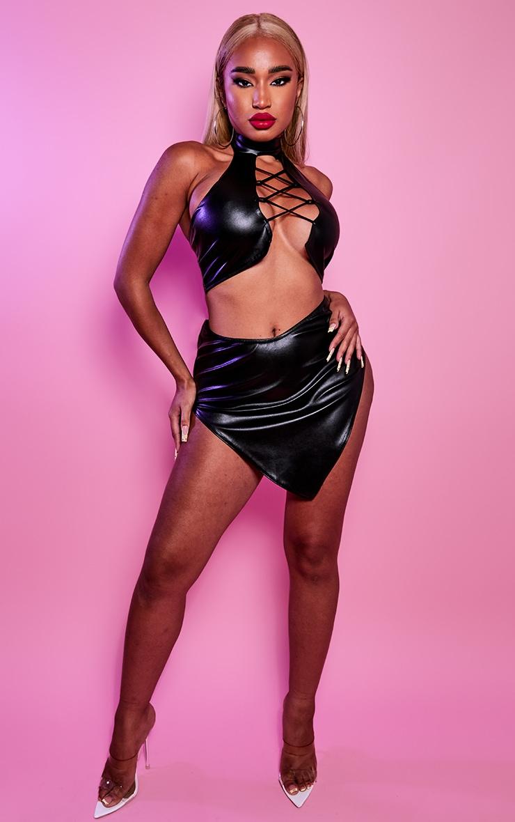 Shape Black PU Curved Hem Bodycon Skirt 1