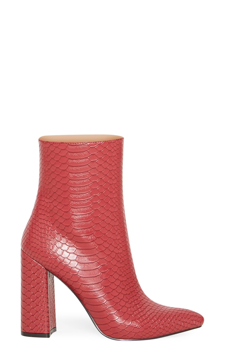 Red Faux Snake Ankle Boot 2