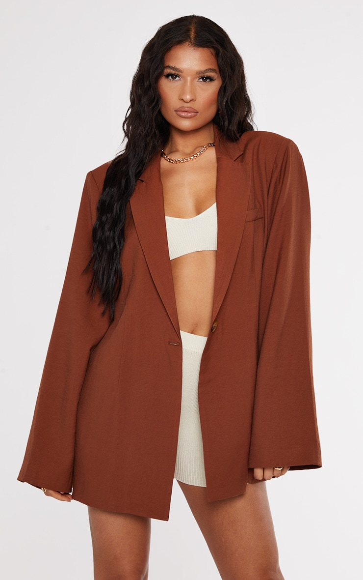 Chocolate Floaty Cinch Waist Shoulder Padded Longline Blazer 1