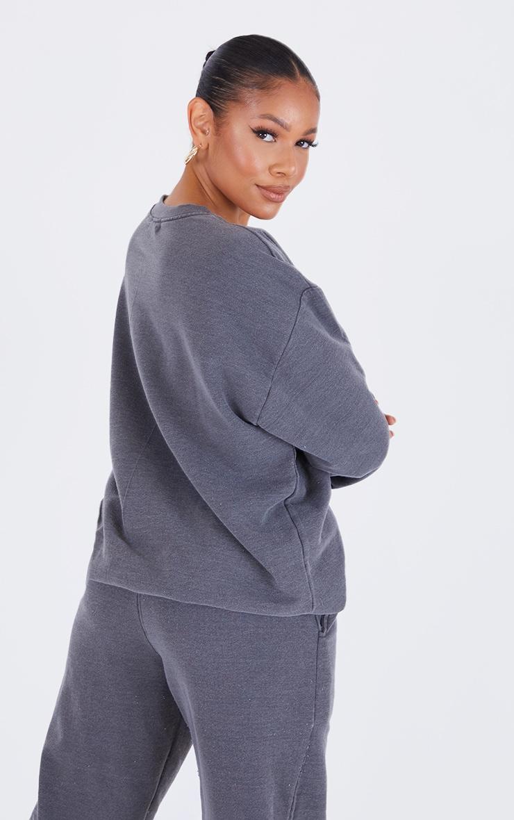 Recycled Charcoal Grey Washed Oversized Sweatshirt 2