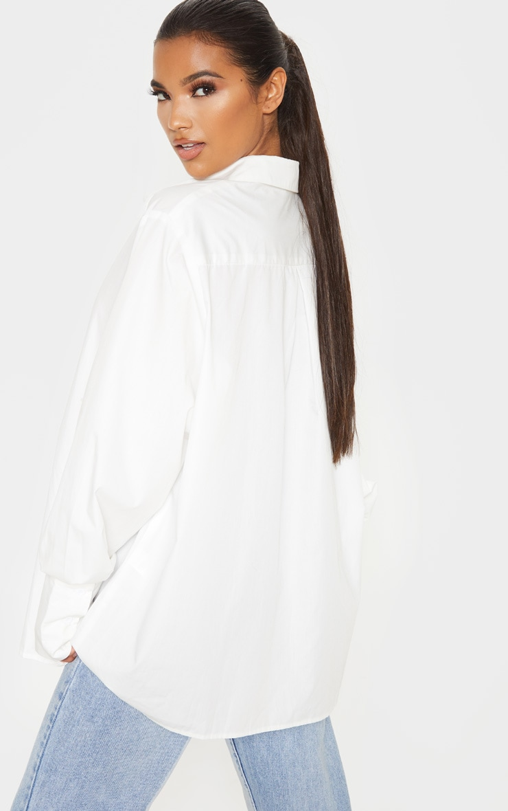 White Oversized Cuff Poplin Shirt 2