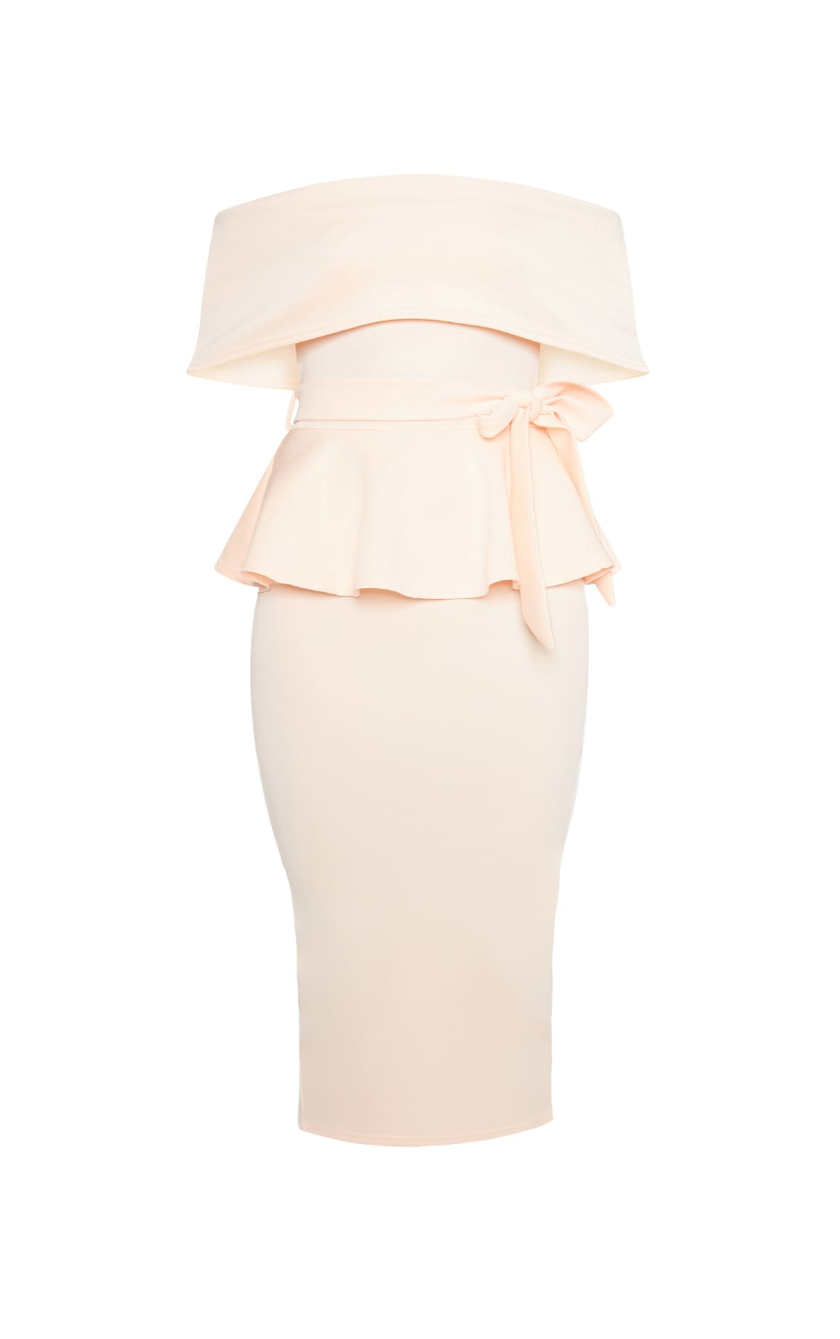 Nude Bardot Peplum Midi Dress 3