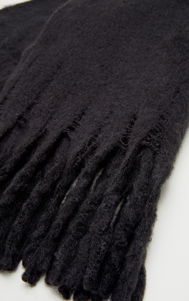 Black Plain Oversized Scarf 3