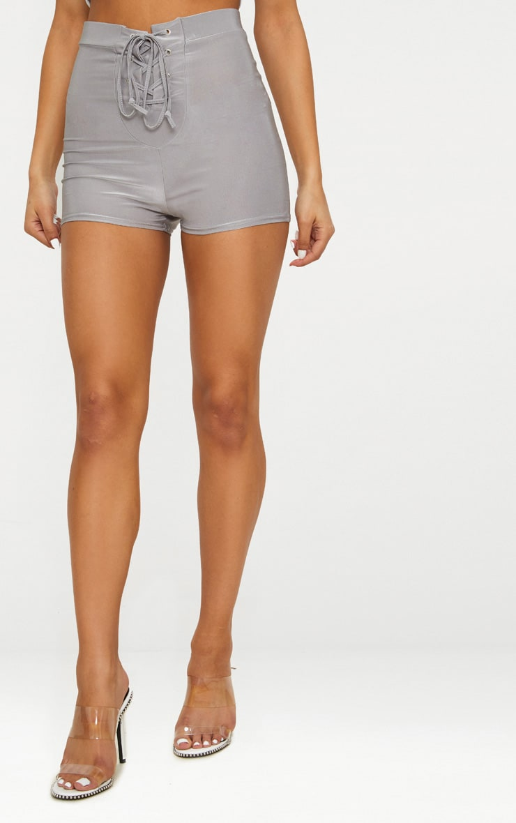 Grey Disco Lace Up Front Hot Pants  2