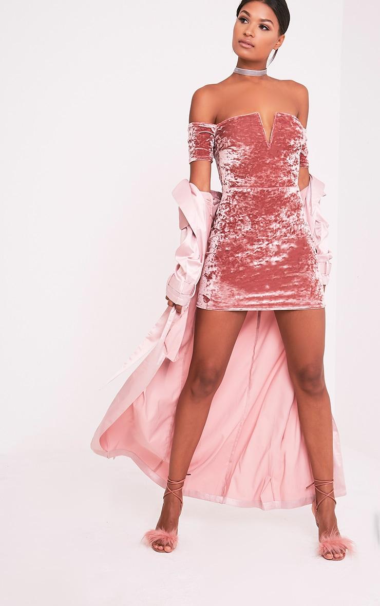 Cinda Dusty Pink Bardot Plunge Detail Velvet Mini Dress 5