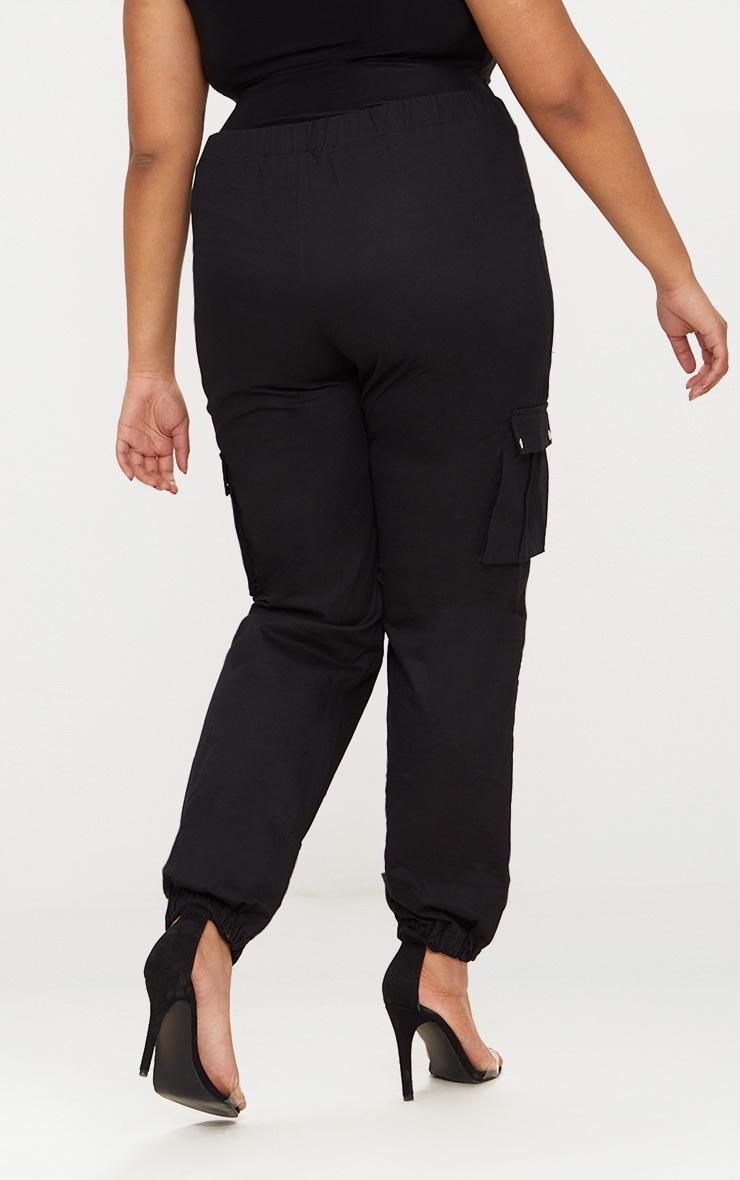 Plus Black Pocket Detail Cargo Trousers 4