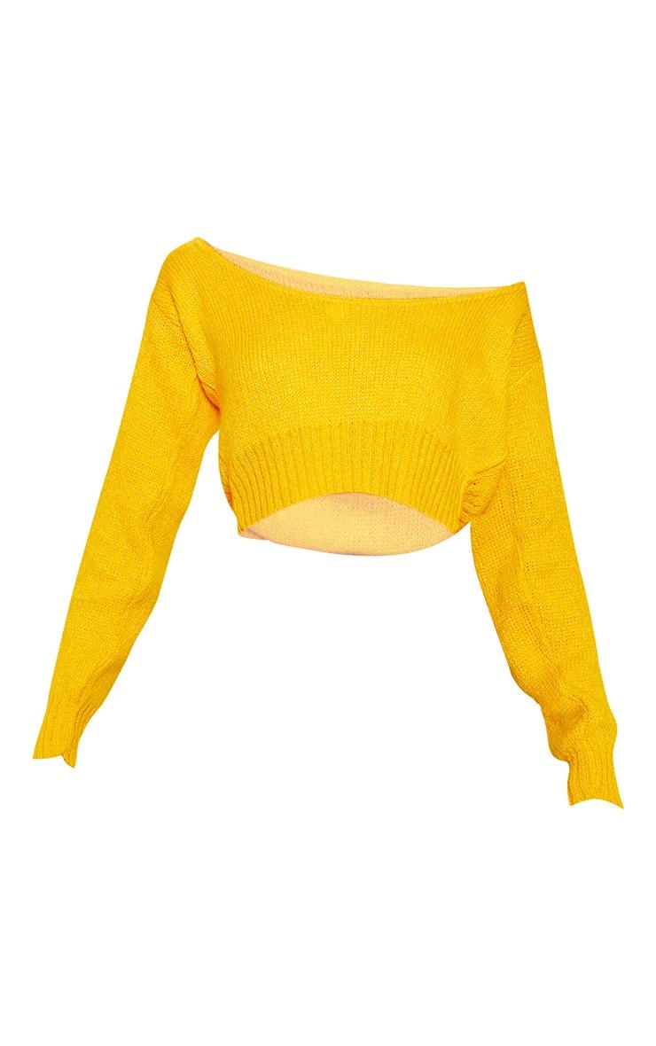 Orange V Neck Off The Shoulder Soft Knitted Crop Jumper  3