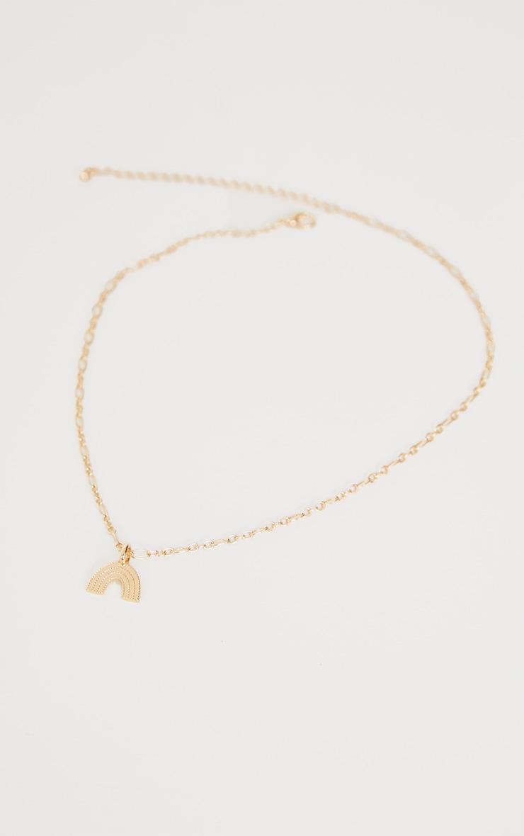 Gold Dainty Rainbow Necklace 3