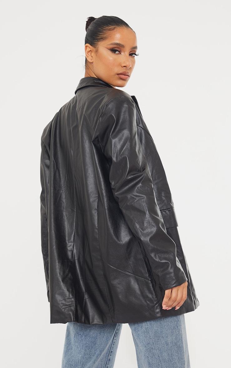 Black Faux Leather Oversized Dad Blazer 2