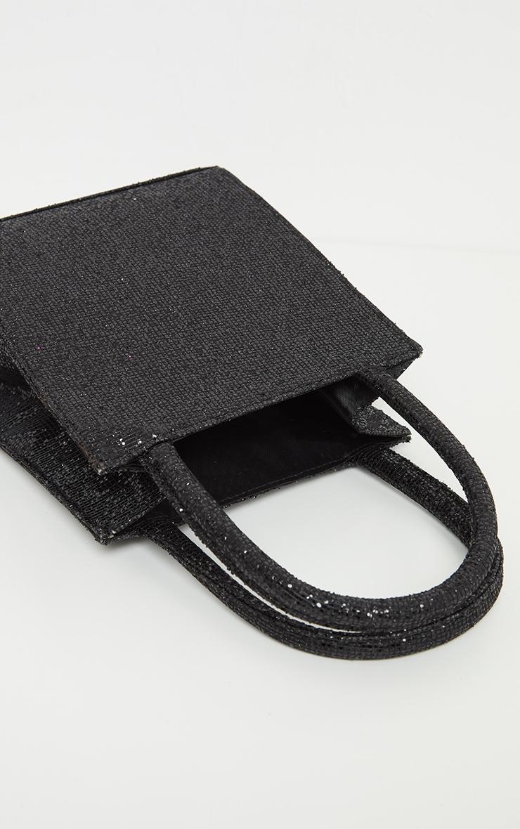 Black Glitter Rectangle Mini Tote Bag 3