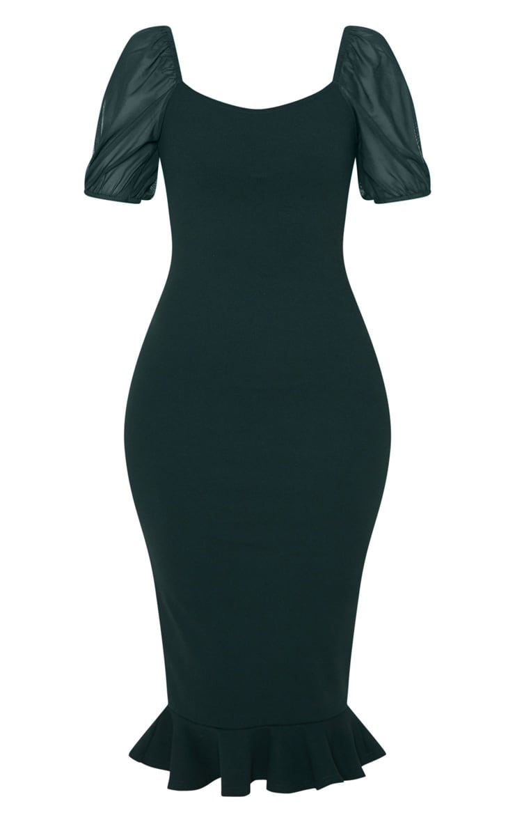 Emerald Green Mesh Puff Sleeve Frill Hem Midi Dress 3