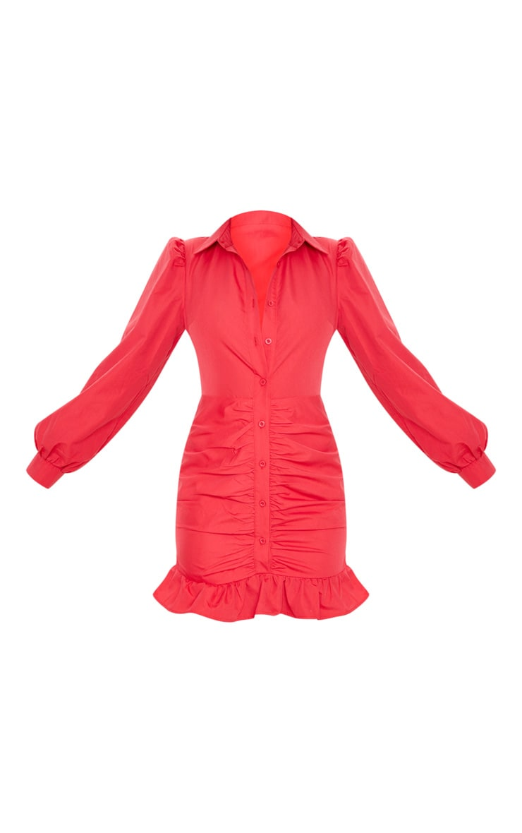 Robe chemise froncée rouge à ourlet volanté 3