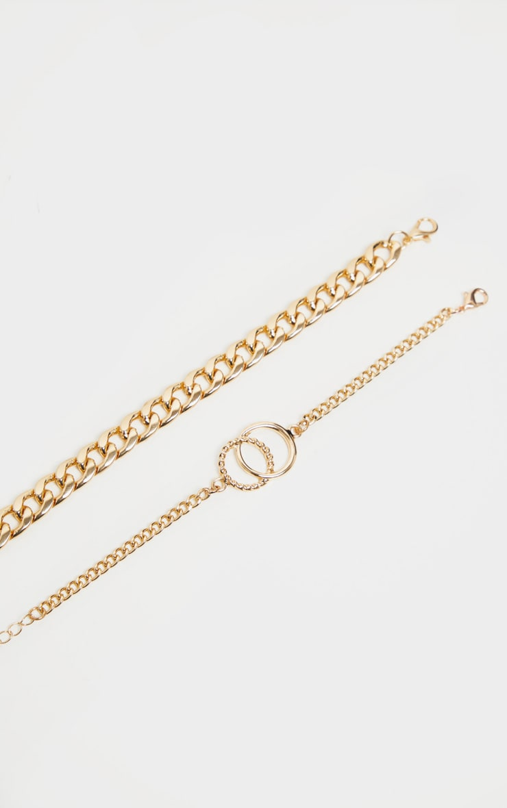 Gold Chain And Circle Link 2 Pack Bracelet 3