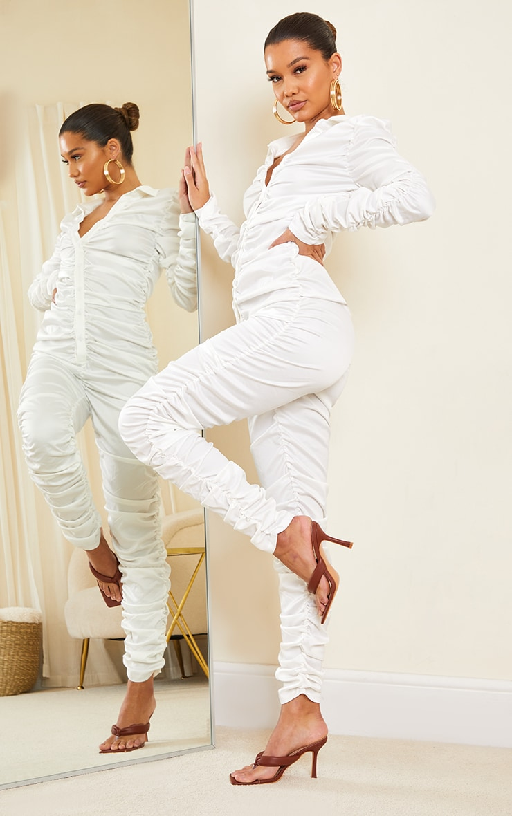 White Ruched Satin Shirt Jumpsuit 3
