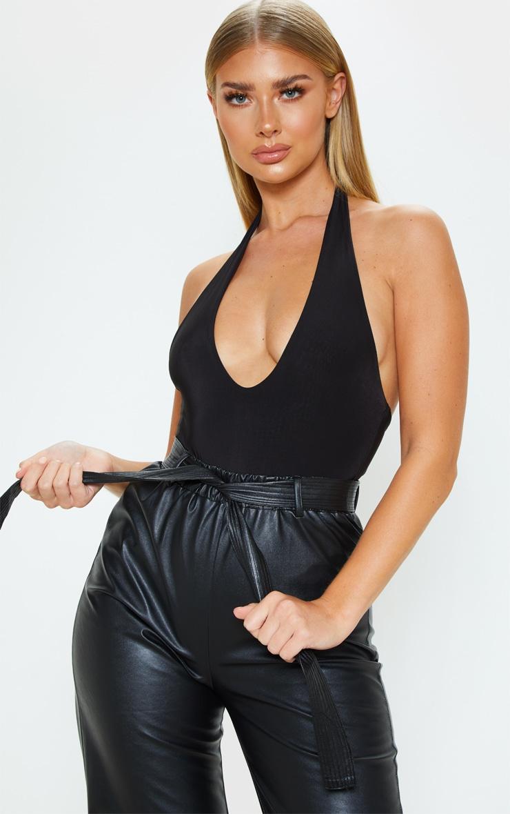 Black Slinky Halterneck Bodysuit 1