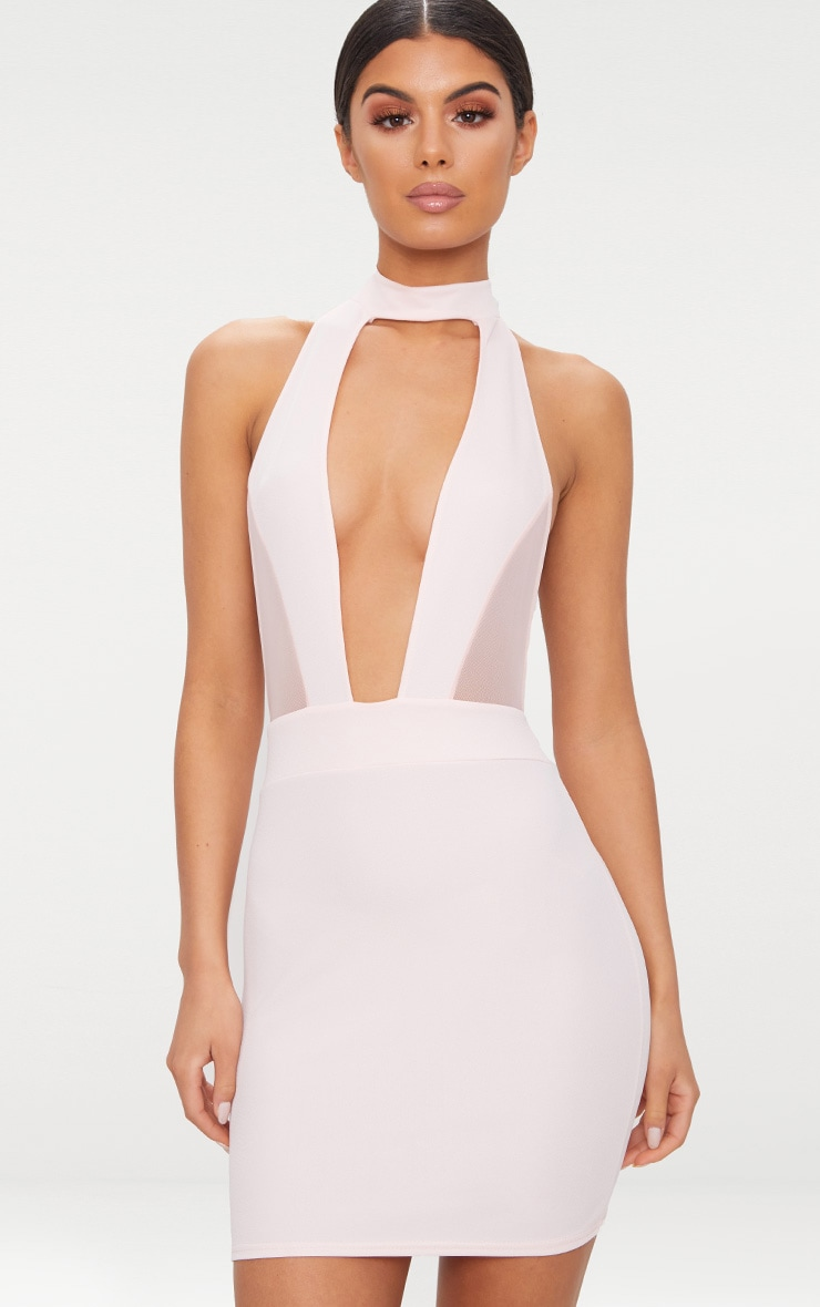 Stone Choker Mesh Detail Bodycon Dress 1