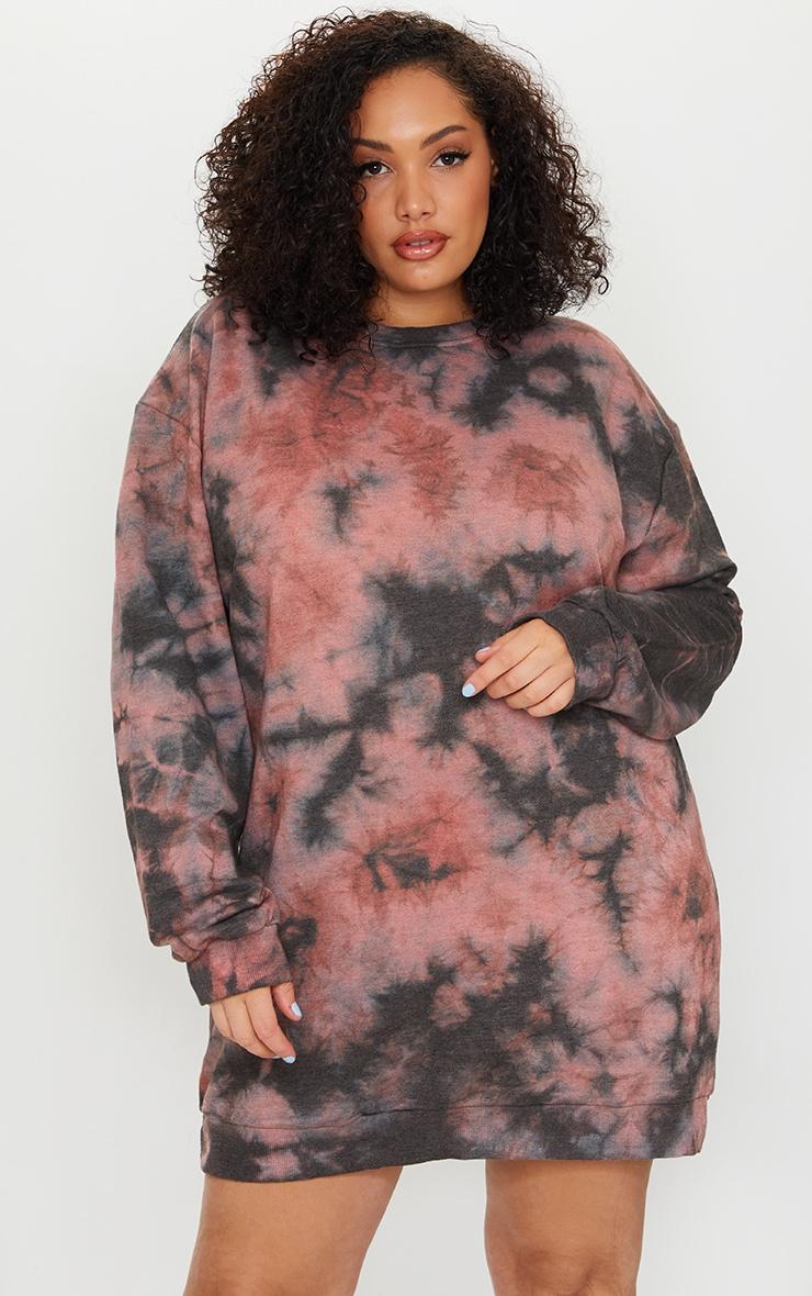 Plus Mauve Tie Dye Sweater Dress 1