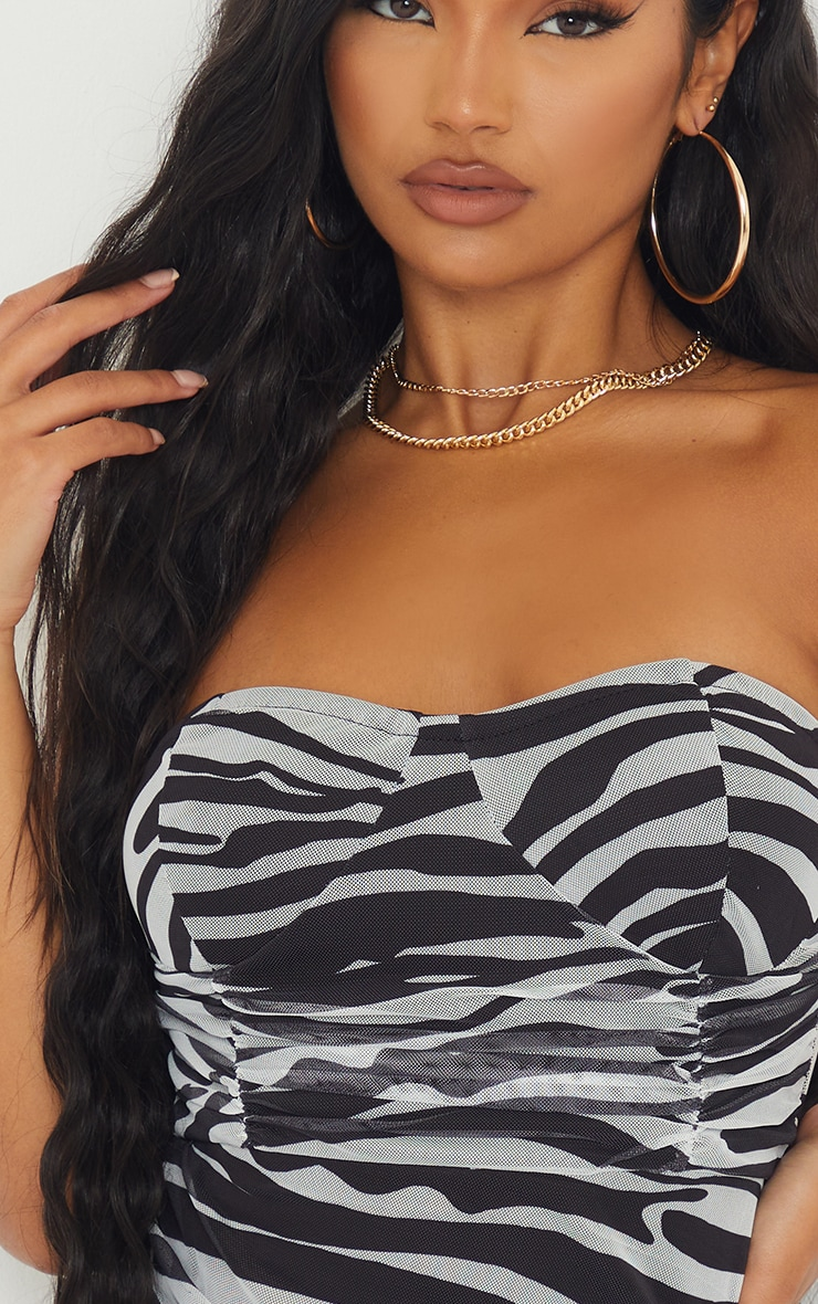Monochrome Zebra Print Bandeau Ruched Bodycon Dress 4